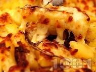 Рецепта Запечени картофи с маслини и моцарела